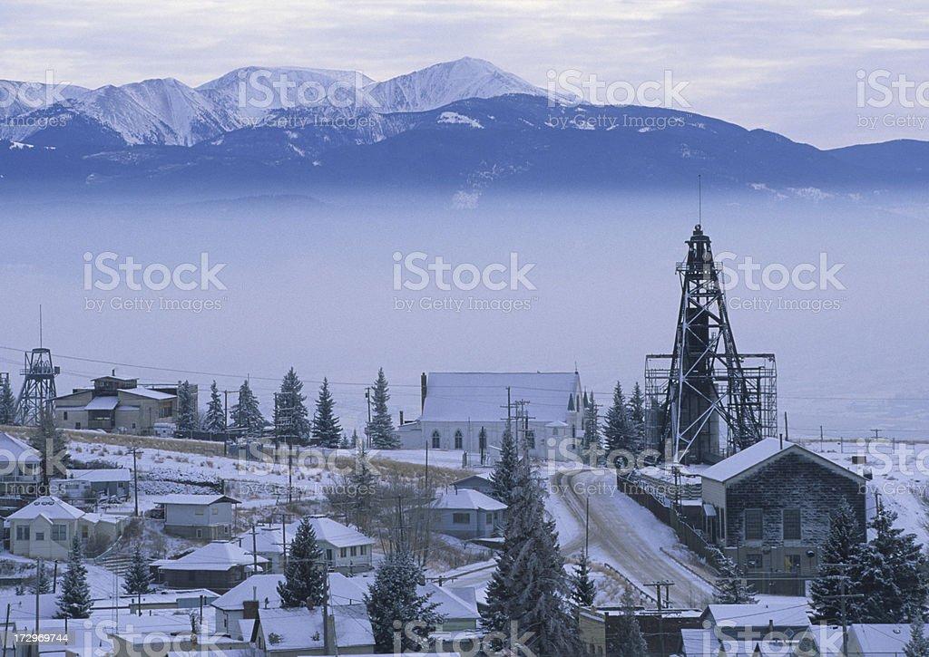 Lexington Mine Headframe and Highland Mountains royalty-free stock photo