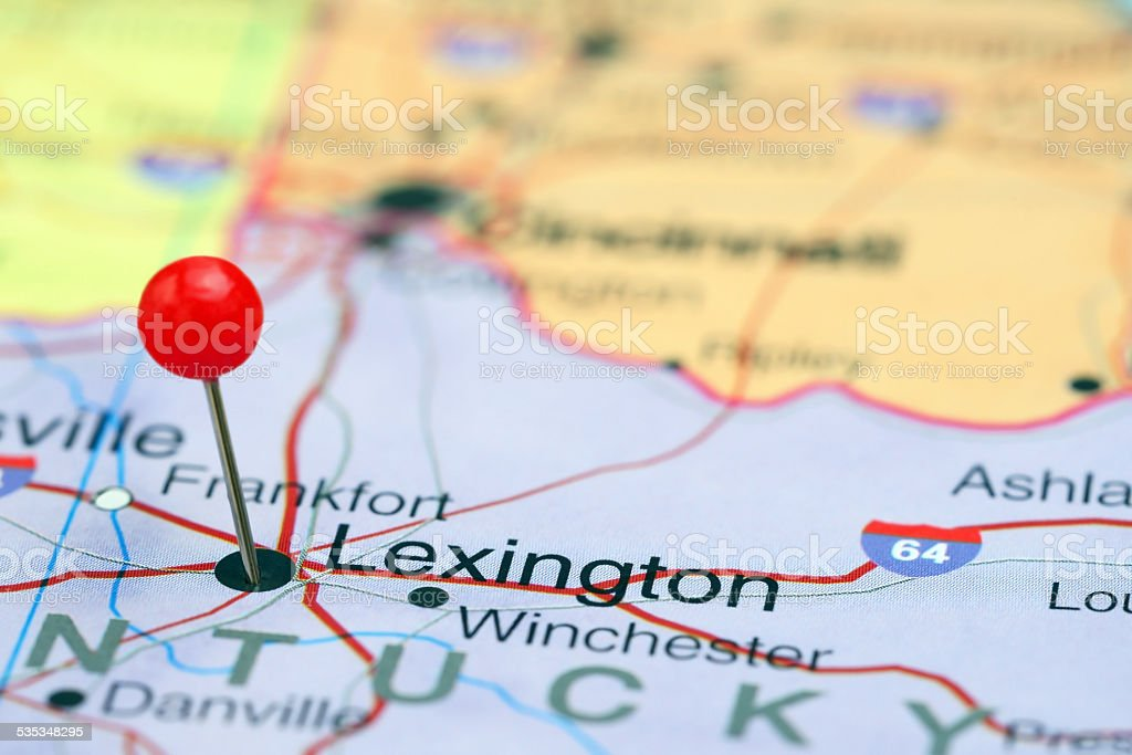 Lexington pinned on a map of USA stock photo