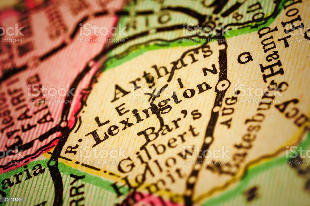 Lexington, South Carolina on an Antique map stock photo