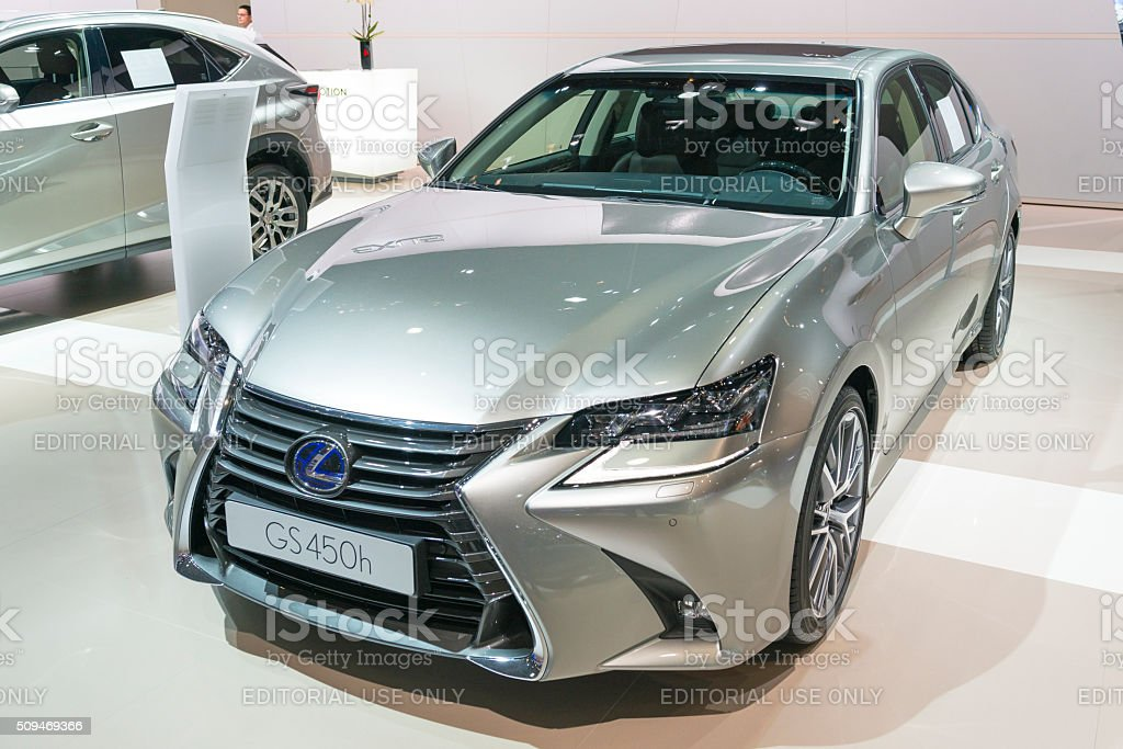 Lexus GS 450h hybrid luxury sedan stock photo