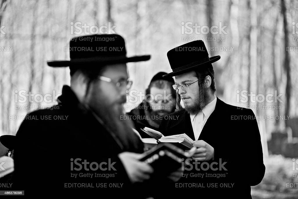 Lezajsk, Poland - Circa March, 2011: A Hassidic Jews pray stock photo