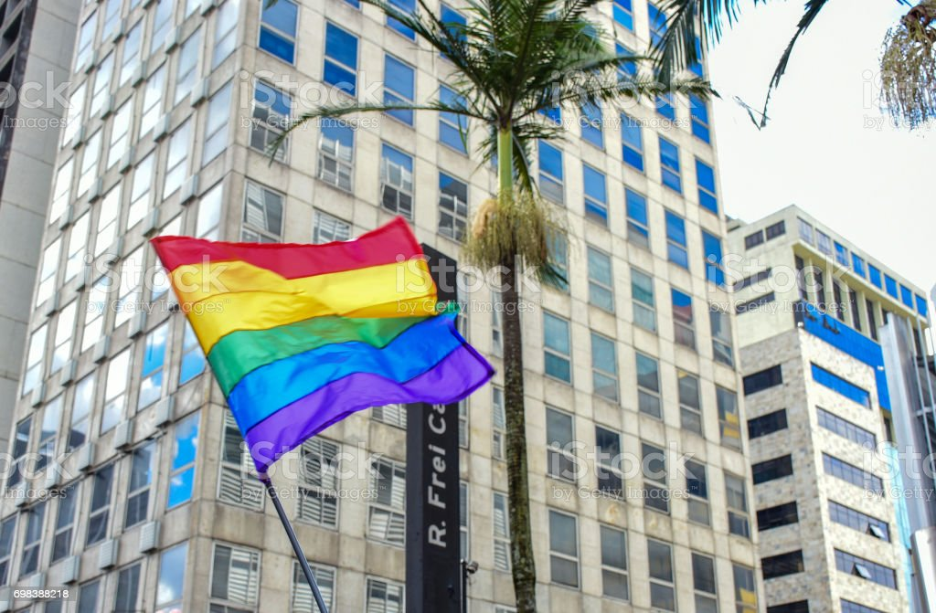 LGBT-colored flag stock photo