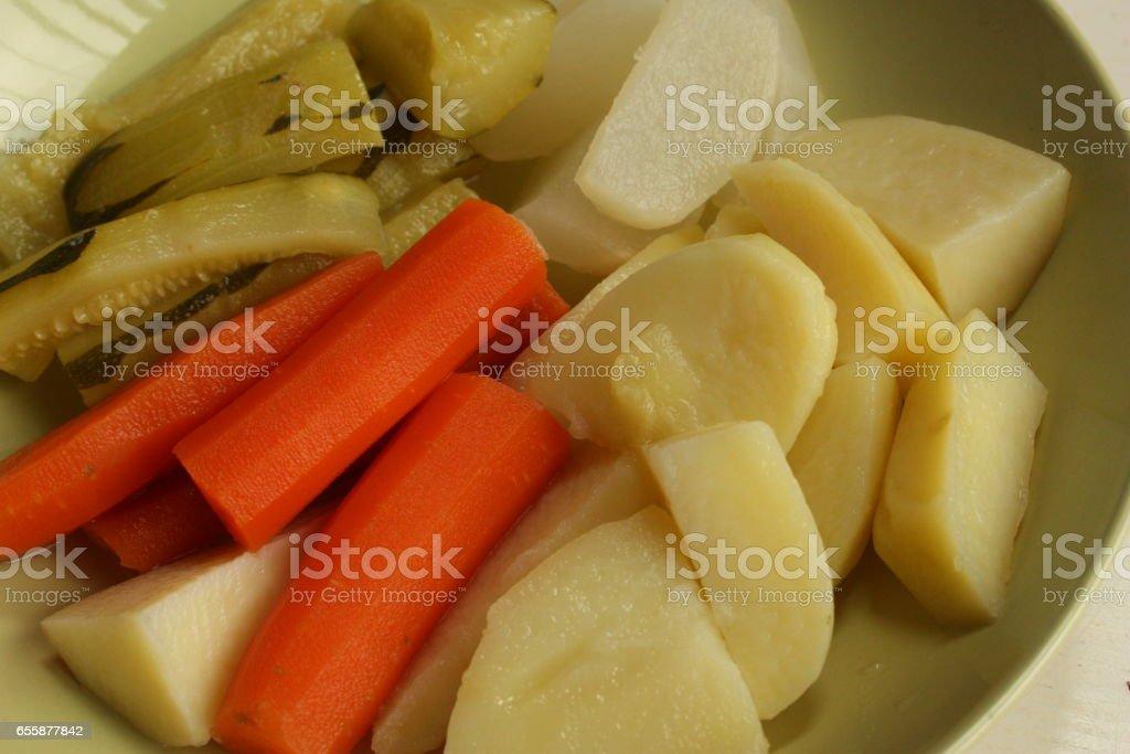 Légumes du Potager cuits à la vapeur stock photo