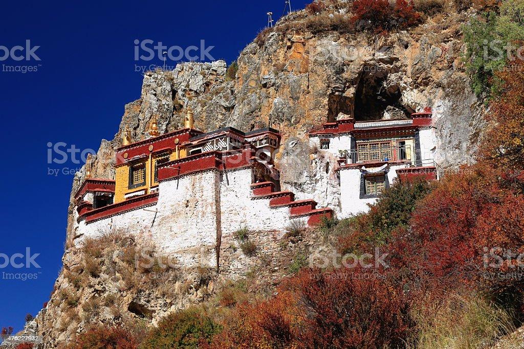 Lhakhang cave. Drak Yerpa monastery-Tibet. 1493 stock photo