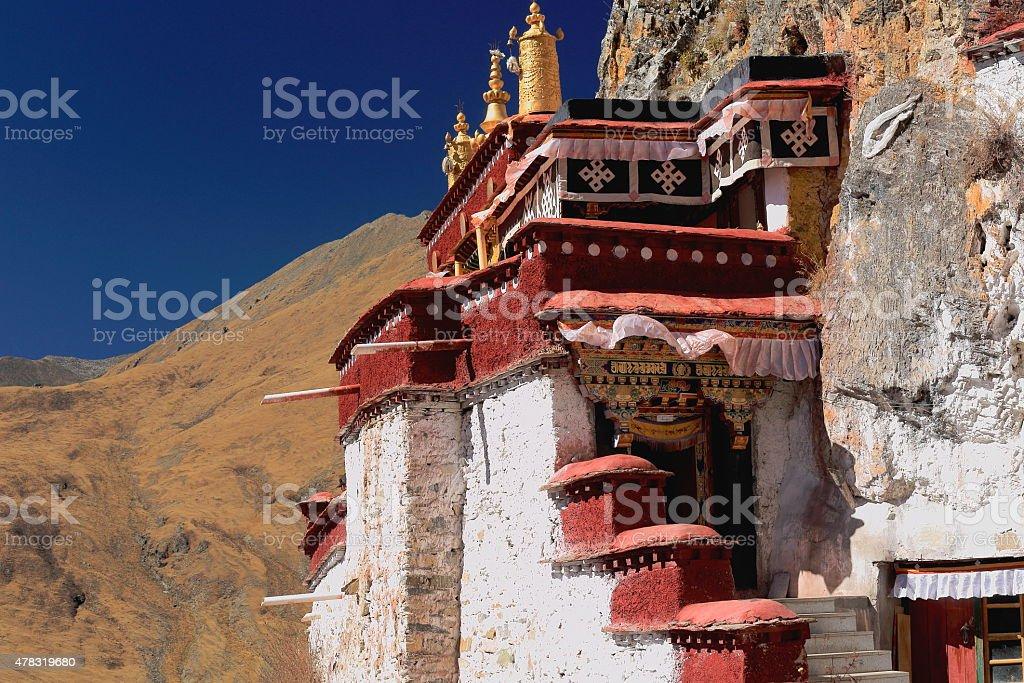 Lhakhang puk-cave. Drak Yerpa monastery-Tibet. 1497 stock photo