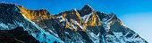 Lhotse 8516m Himalaya mountain peak panorama illuminated by sunrise Nepal