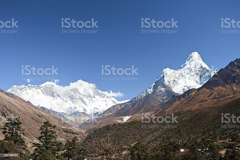 Lhotse and Ama Dablam from Tengboche stock photo