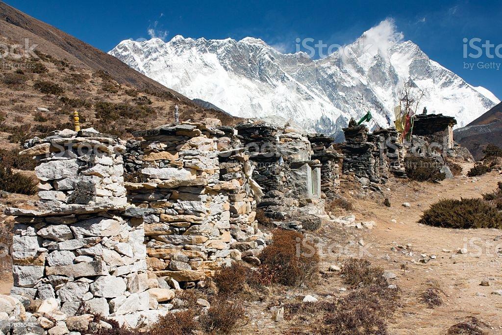 Lhotse, Nuptse and top of Mount Everest stock photo