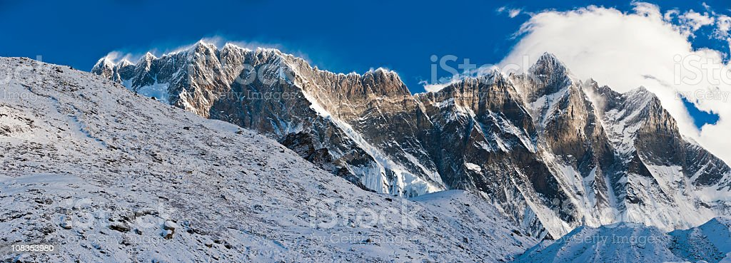 Lhotse Nuptse massif dramatic rocky pinnacles mountain peaks Himalayas Nepal royalty-free stock photo