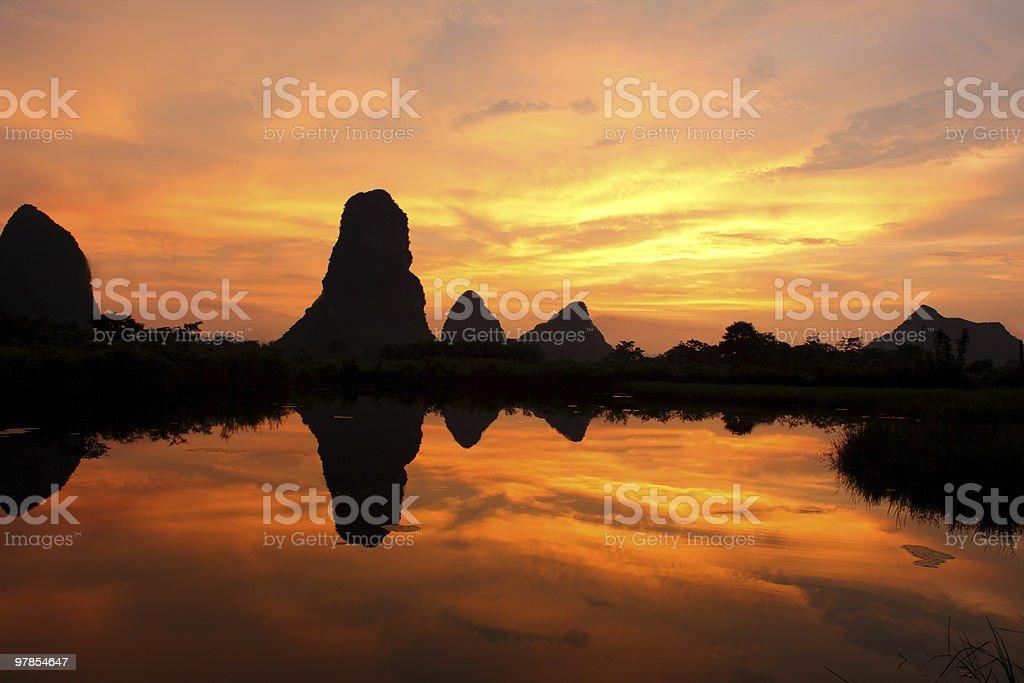 li jiang river sunset royalty-free stock photo