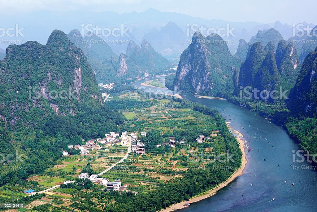 Li river and Peaks in the afternoon 02 stock photo