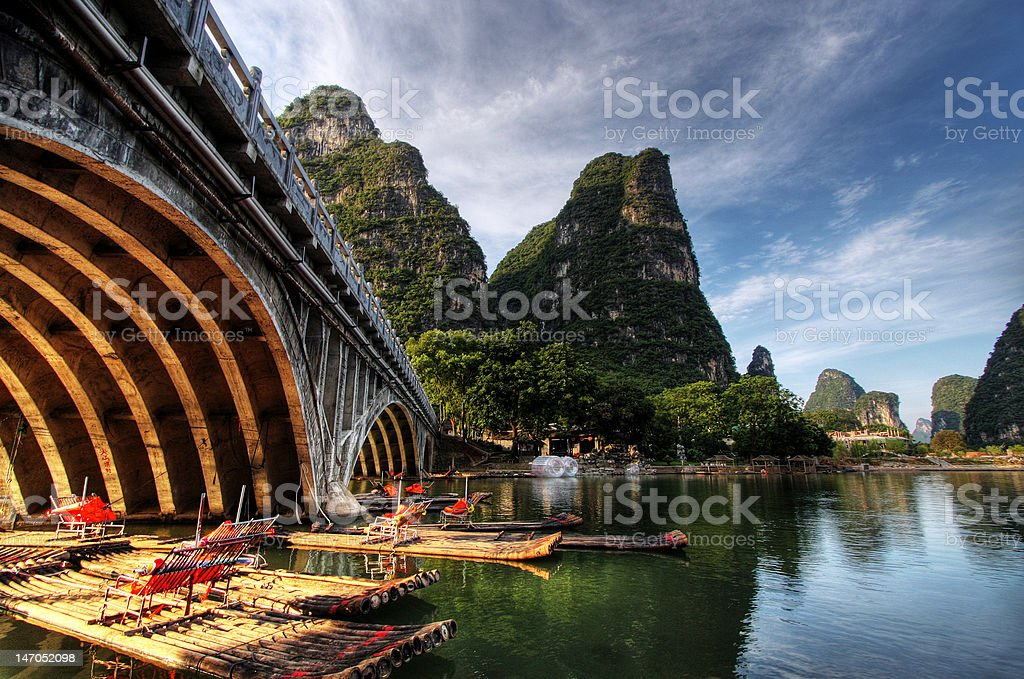 Li river karst mountain landscape in Yangshuo, China stock photo