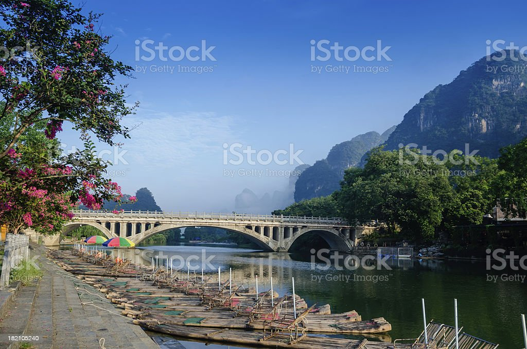 Li river karst mountain landscape stock photo