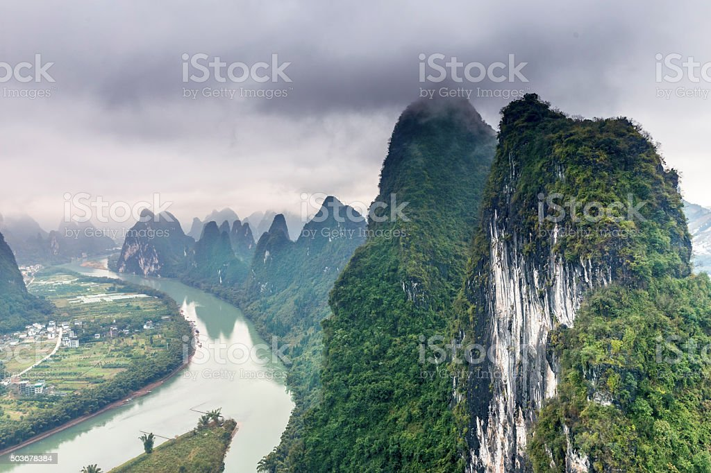 Li River Landscape at GuanXi of China stock photo