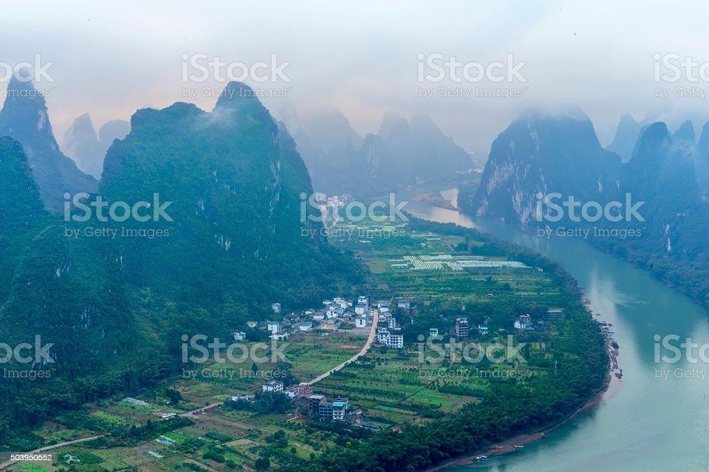 Li River Landscape at GuanXi of China stock photo