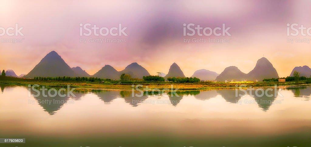 Li River Panorama stock photo