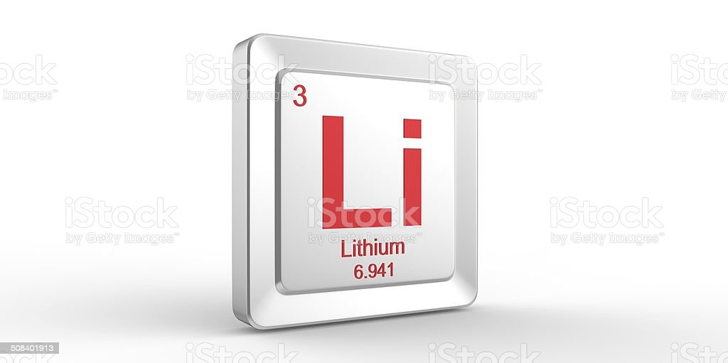 Li symbol 3 material for Lithium chemical element stock photo