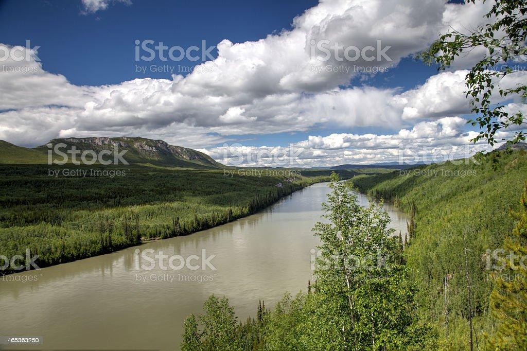 Liard River in northern British Columbia, Canada. stock photo