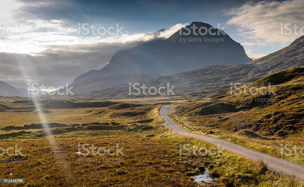 Liathach mountain over Glen Torridon stock photo
