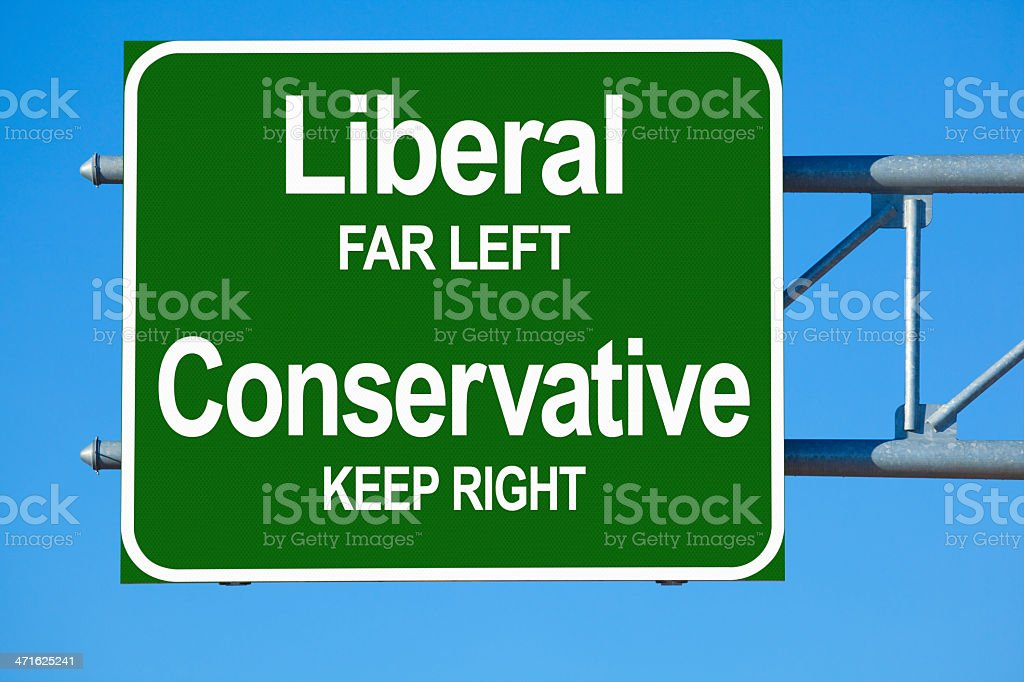 Liberal Conservative Highway sign stock photo