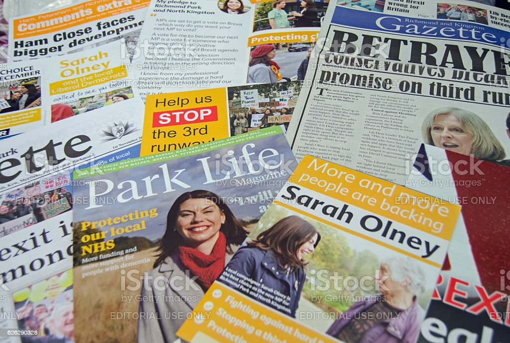 Liberal Democrat by-election leaflets stock photo