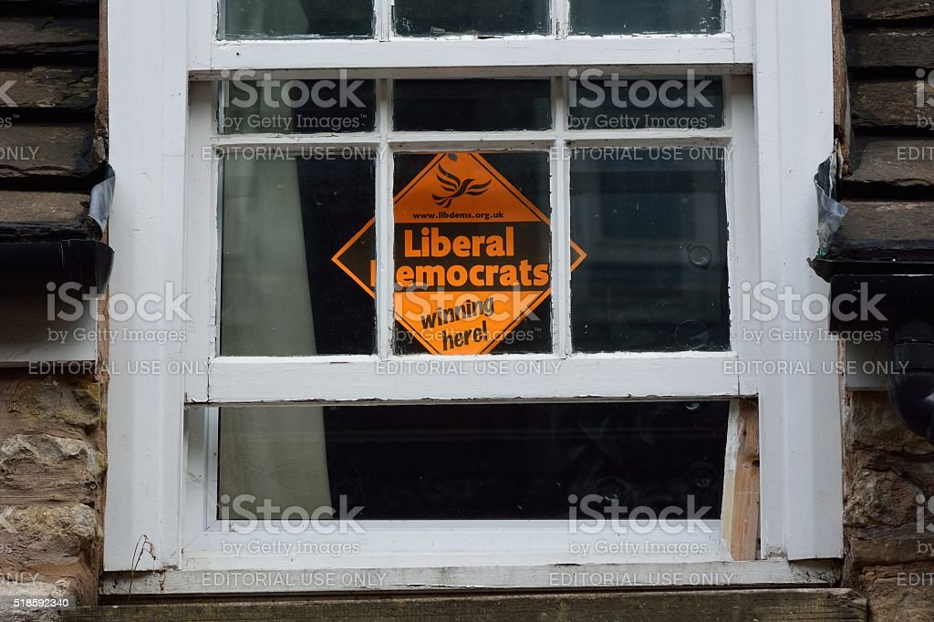 Liberal Democrats 'Winning Here' sign stock photo