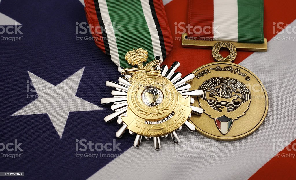 U.S. Liberation of Kuwait Medals from Gulf War royalty-free stock photo