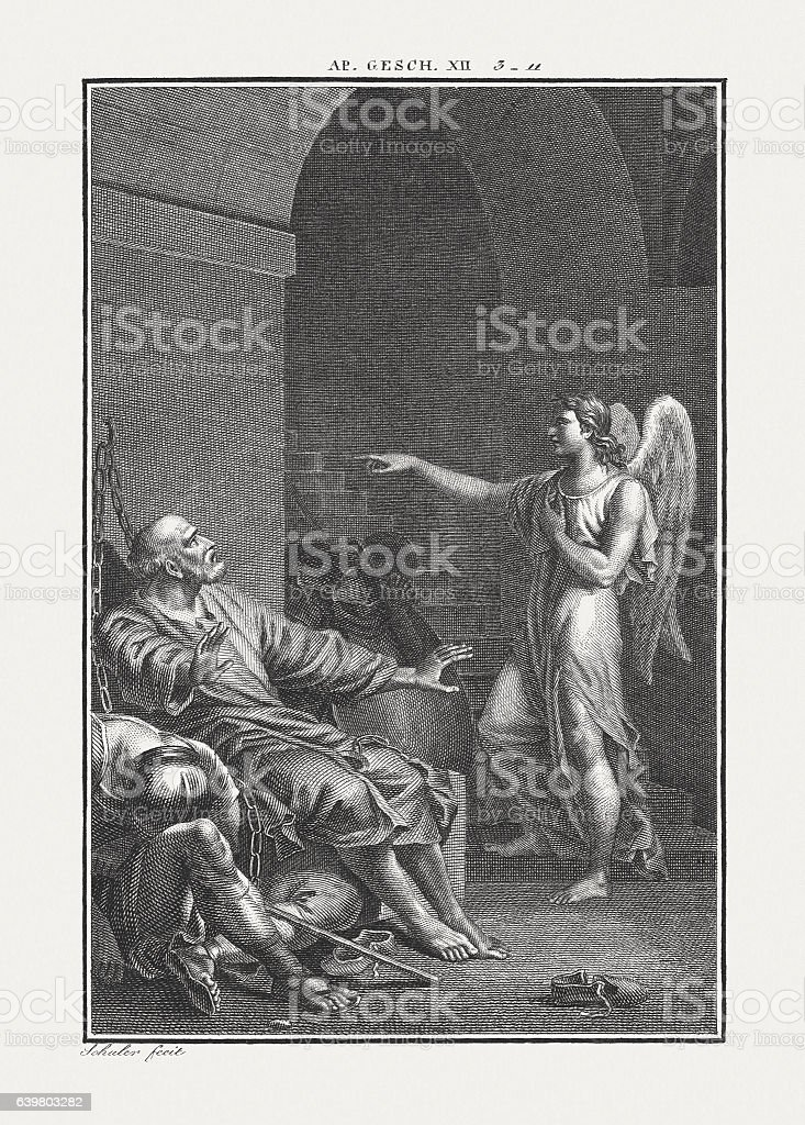 Liberation of Saint Peter (Acts 12), copper engraving, published c.1850 stock photo