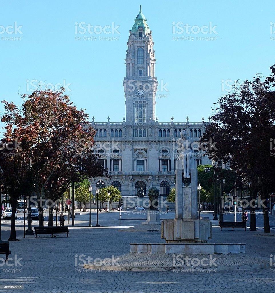Liberdade Square Town Hall Porto stock photo