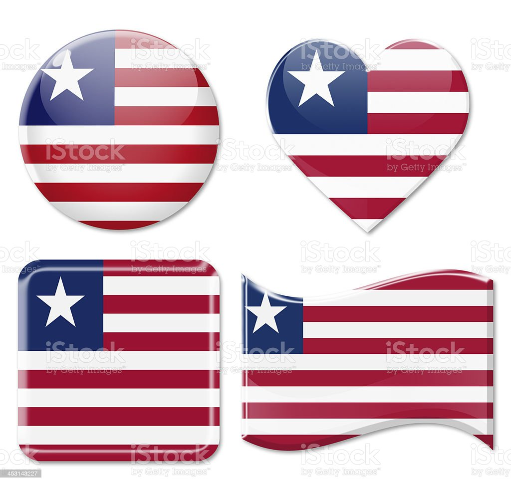 Liberia flag and Icon Set stock photo