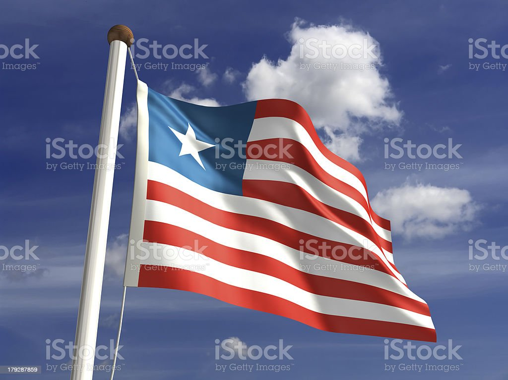 Liberia flag (with clipping path) stock photo