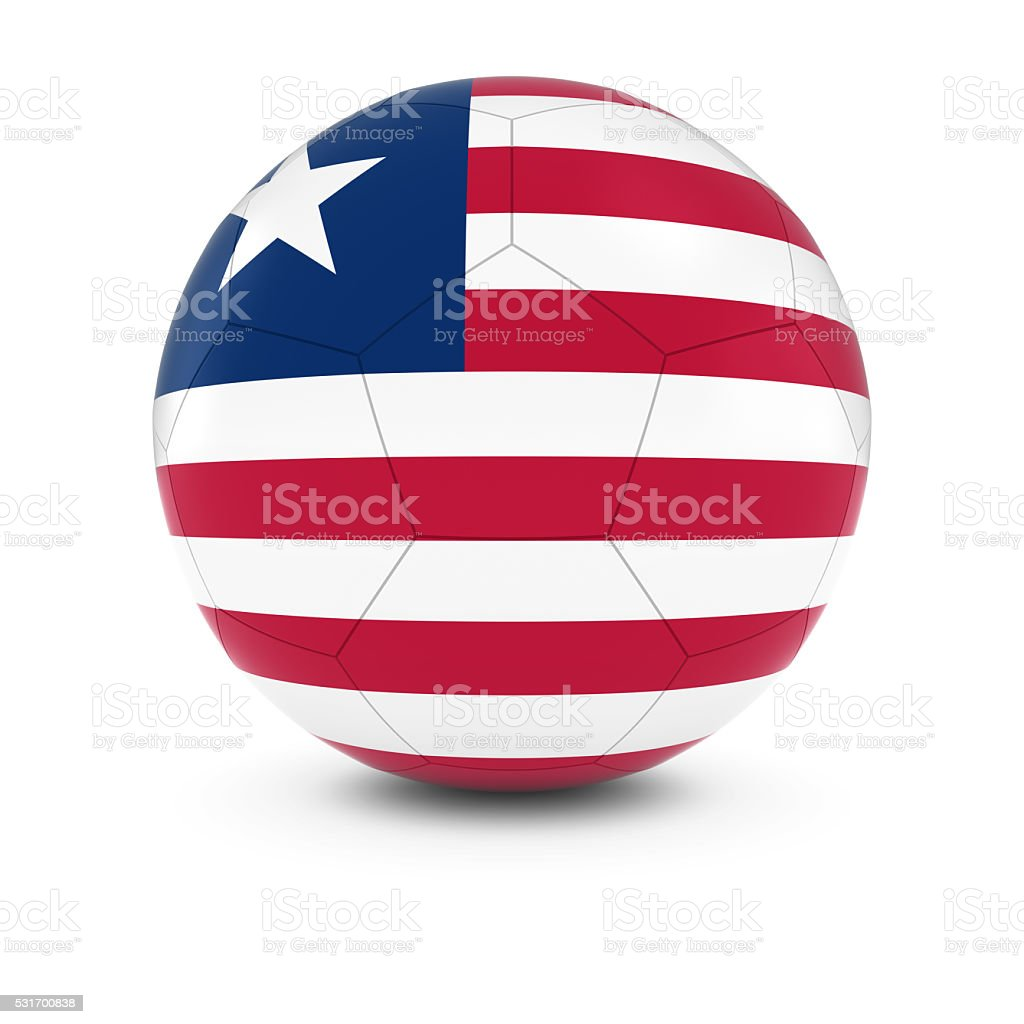Liberia Football - Liberian Flag on Soccer Ball stock photo