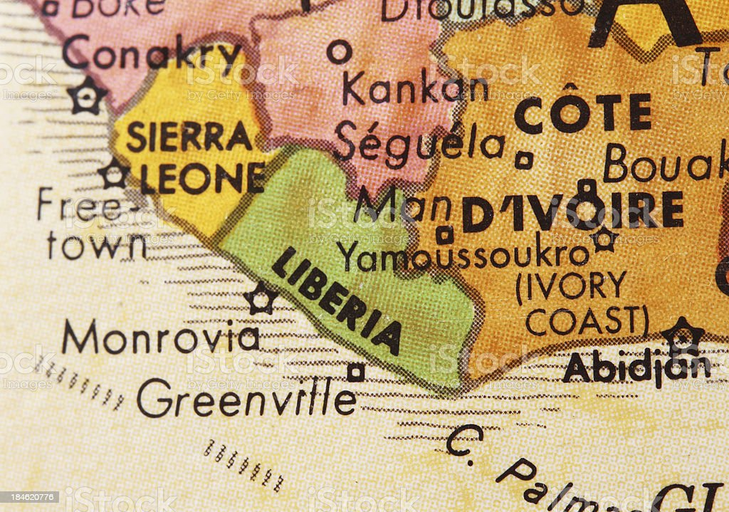 Liberia on the Map royalty-free stock photo