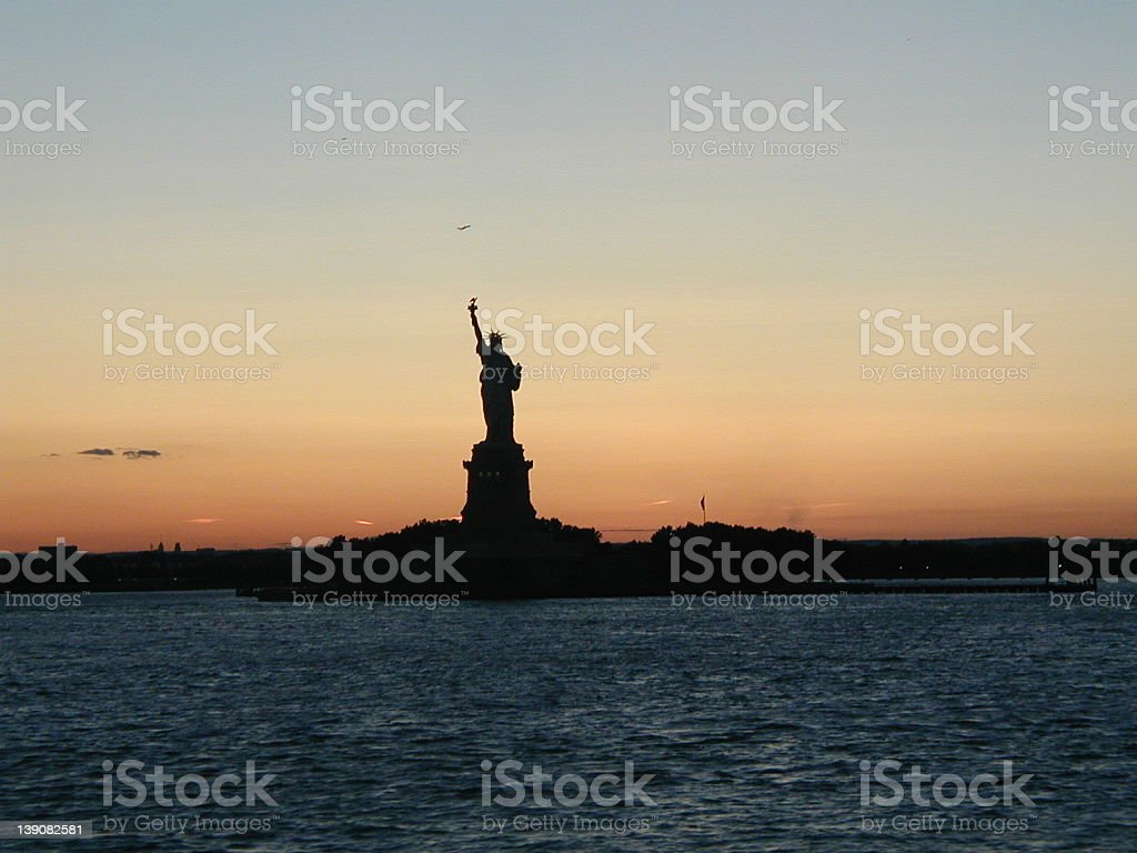 Liberty at SUnset royalty-free stock photo