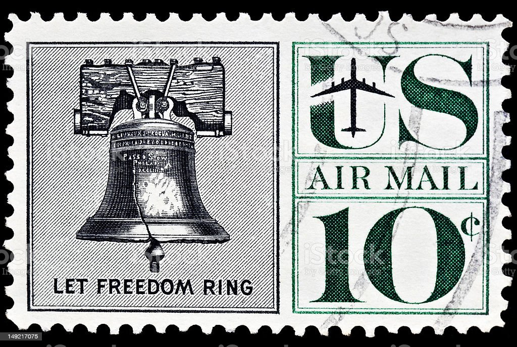 Liberty Bell Airmail Postal Stamp stock photo