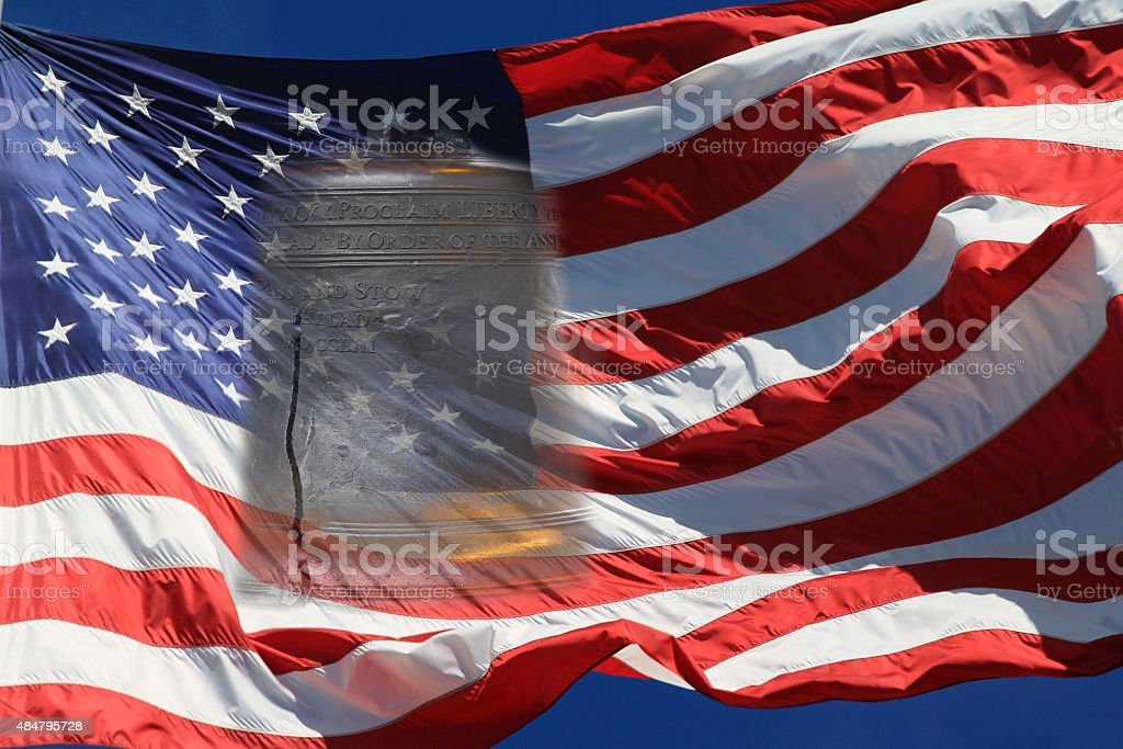Liberty Bell and Flag stock photo