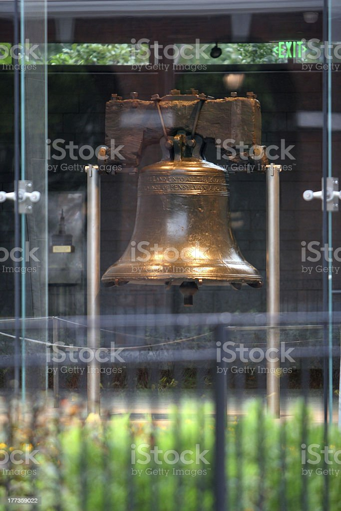 Liberty Bell from the Outside through Windows stock photo