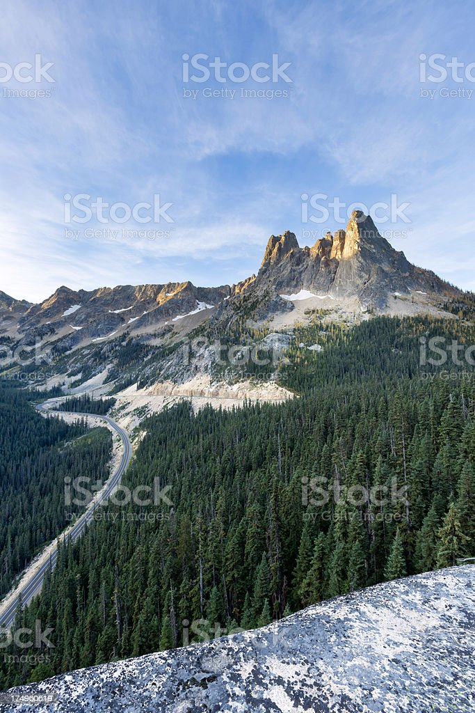 Liberty Bell Mountain from Washington Pass Overlook royalty-free stock photo
