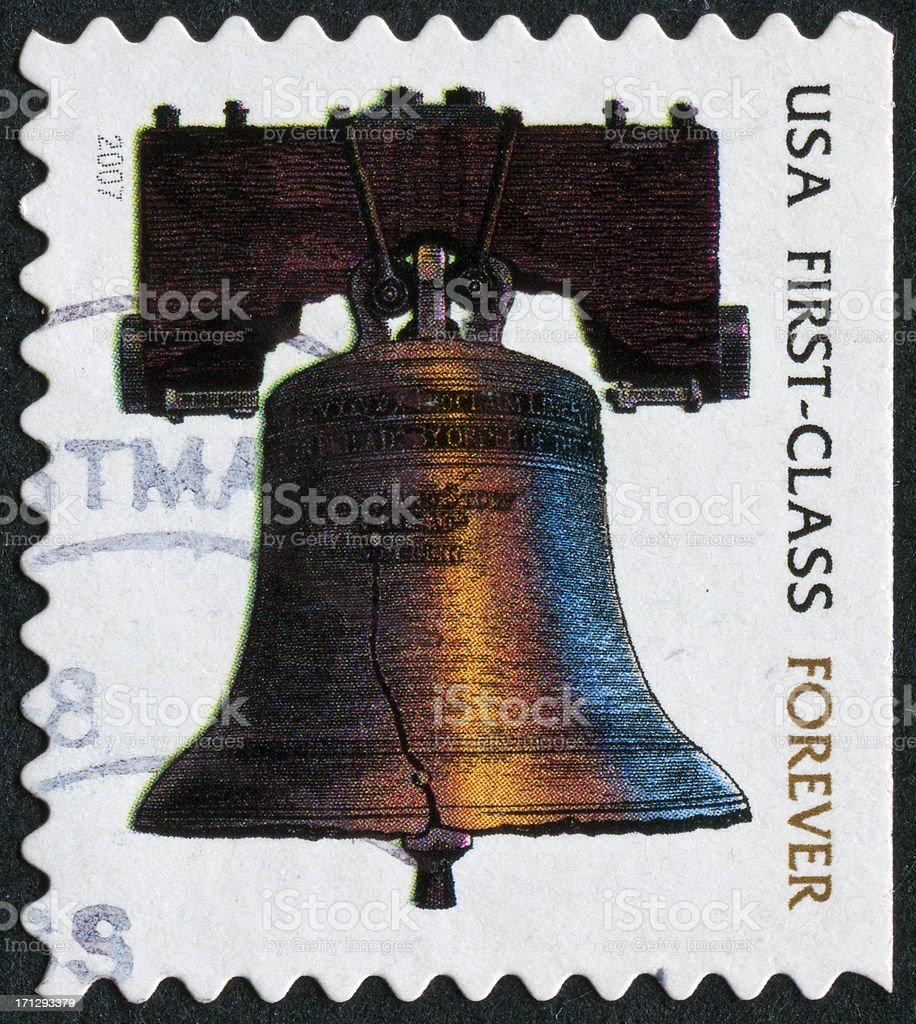 Liberty Bell Stamp stock photo