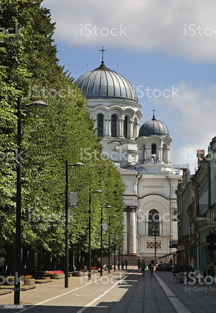 Liberty boulevard and St. Michael Archangel church in Kaunas. Lithuania stock photo
