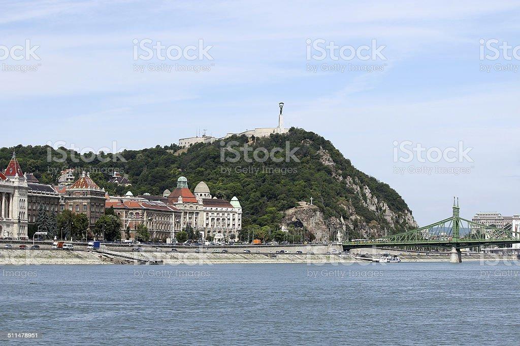 Liberty bridge and Gellert hill Budapest stock photo