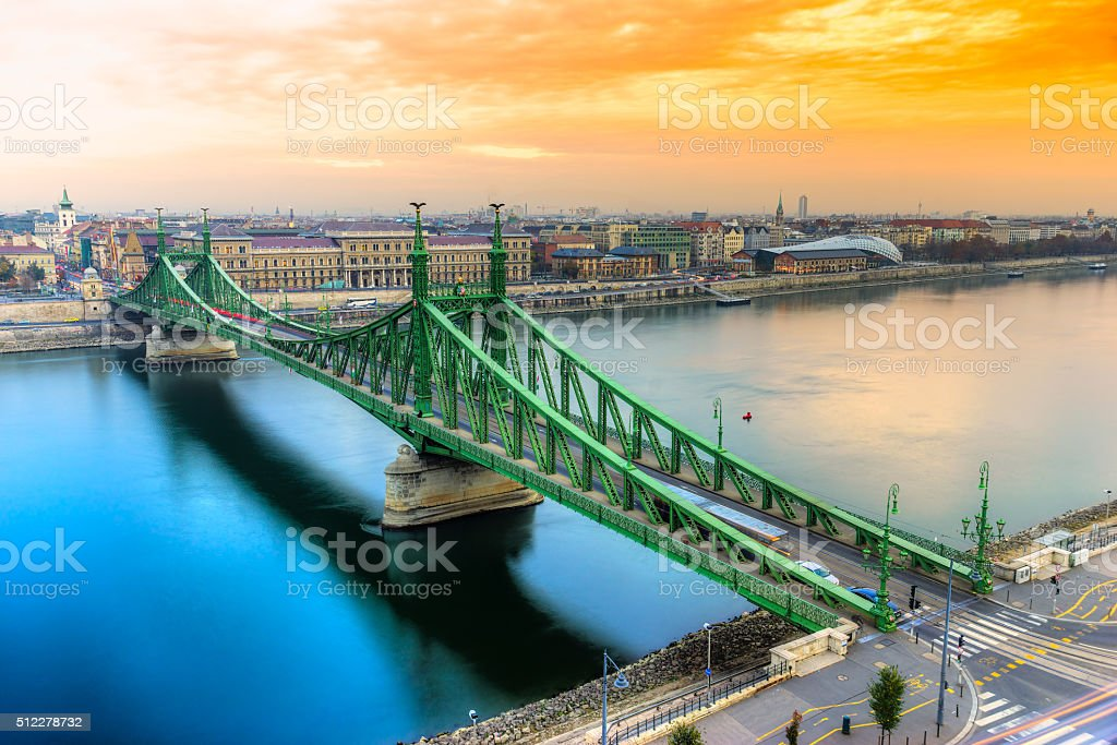 Liberty Bridge at sunset, Budapest. stock photo
