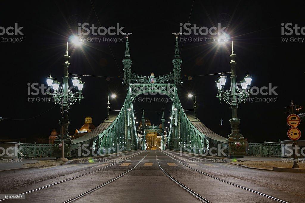 Liberty Bridge, Budapest, Hungary at night stock photo