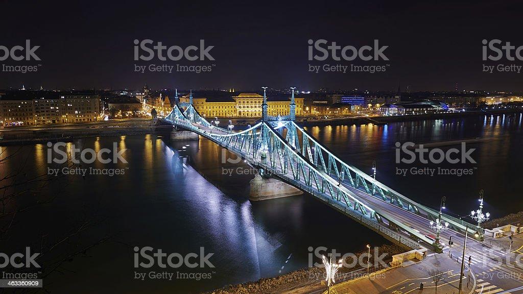Liberty bridge in Budapest, long exposure by night stock photo