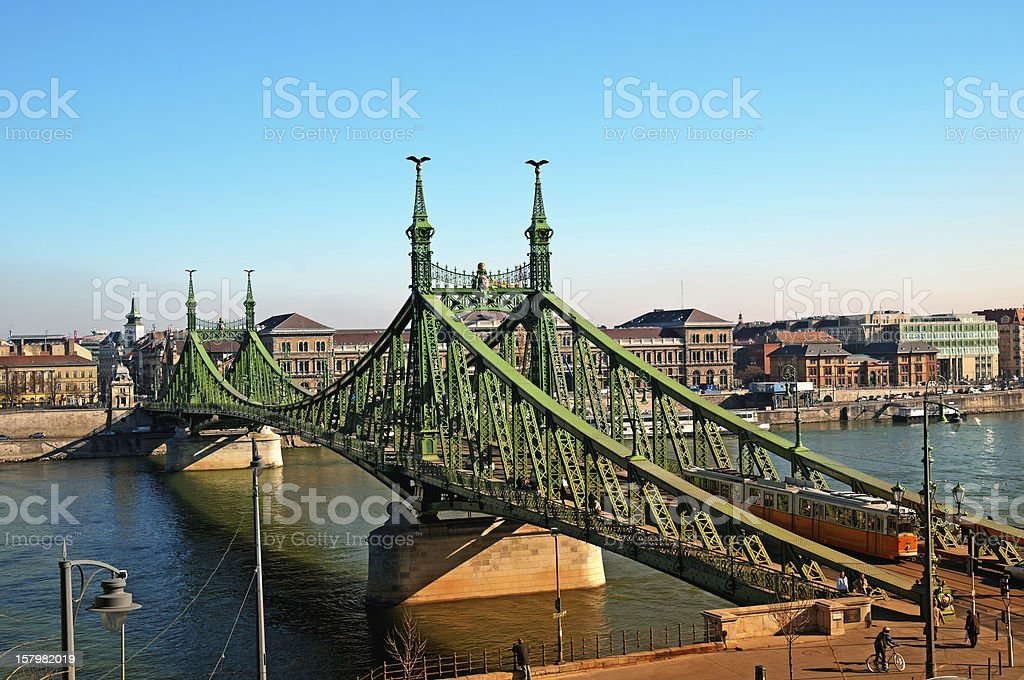 Liberty Bridge in Budapest royalty-free stock photo