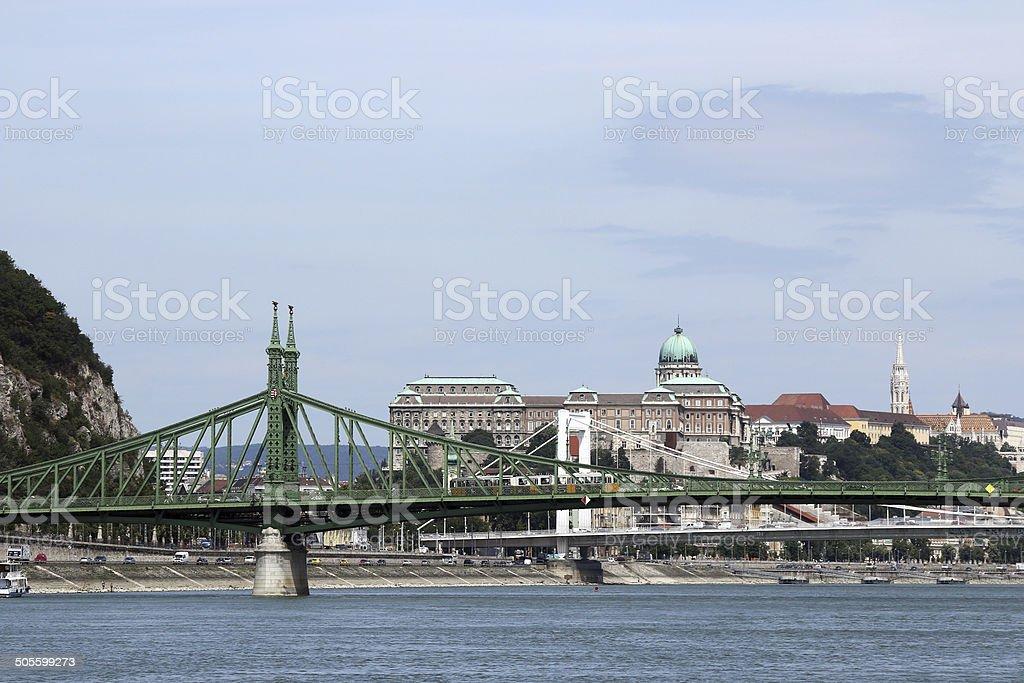 Liberty bridge over Danube river Budapest stock photo