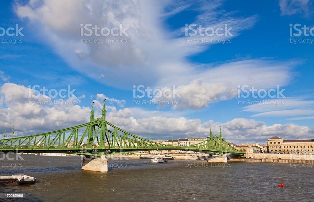 Liberty Bridge over Danube river in Budapest, Hungary stock photo