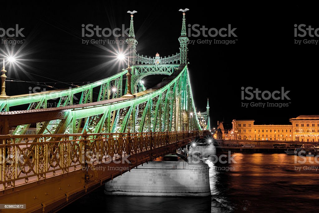 Liberty Bridge over the River Danube in Budapest stock photo
