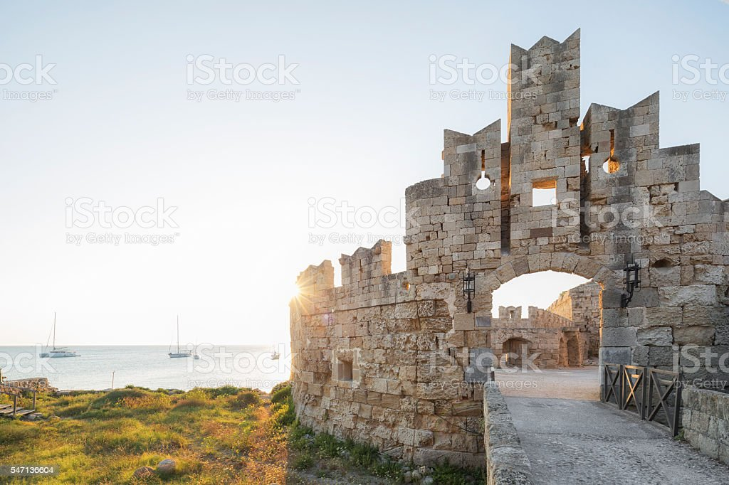 Liberty Entrance, Medieval Town of the City of Rhodes, Greece stock photo