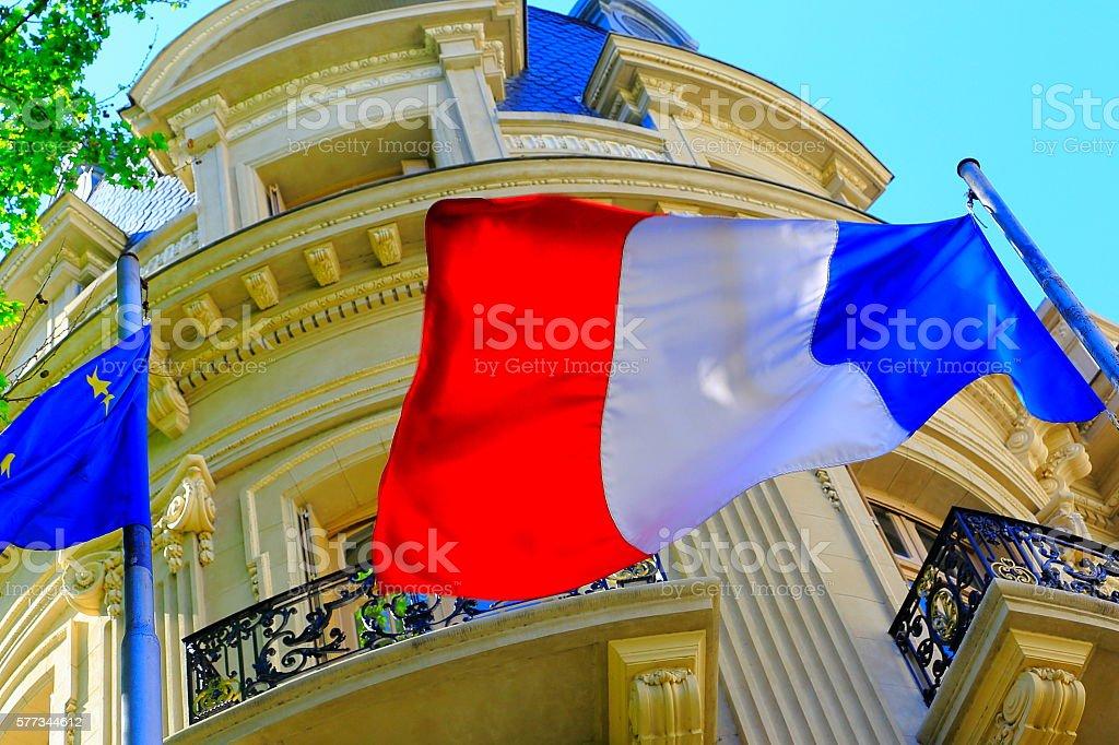 Liberté, égalité, fraternité: French Flag winding freedom, Paris,, France stock photo